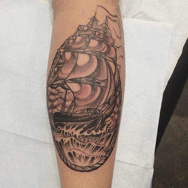 Fun ship from today.#shiptattoo #sailboattattoo #pnw #seattleartist #seattletattoo #tattoo #pacificnorthwest #tats #art #seattletattooer