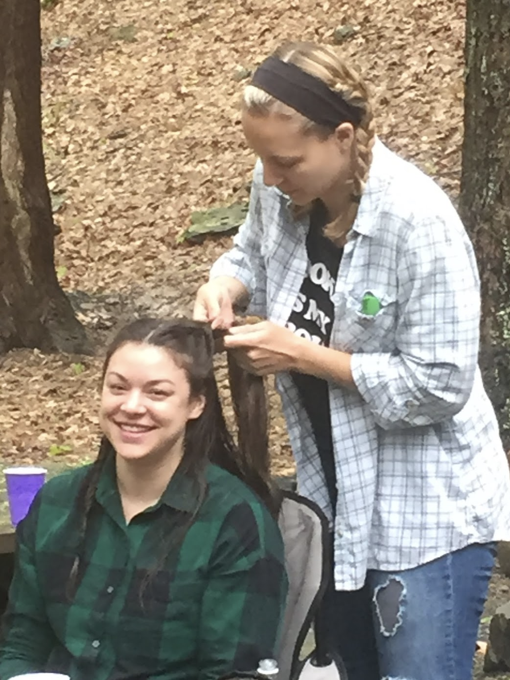 olivia and sara enjoying some time in the woods at hedgepig's first retreat.