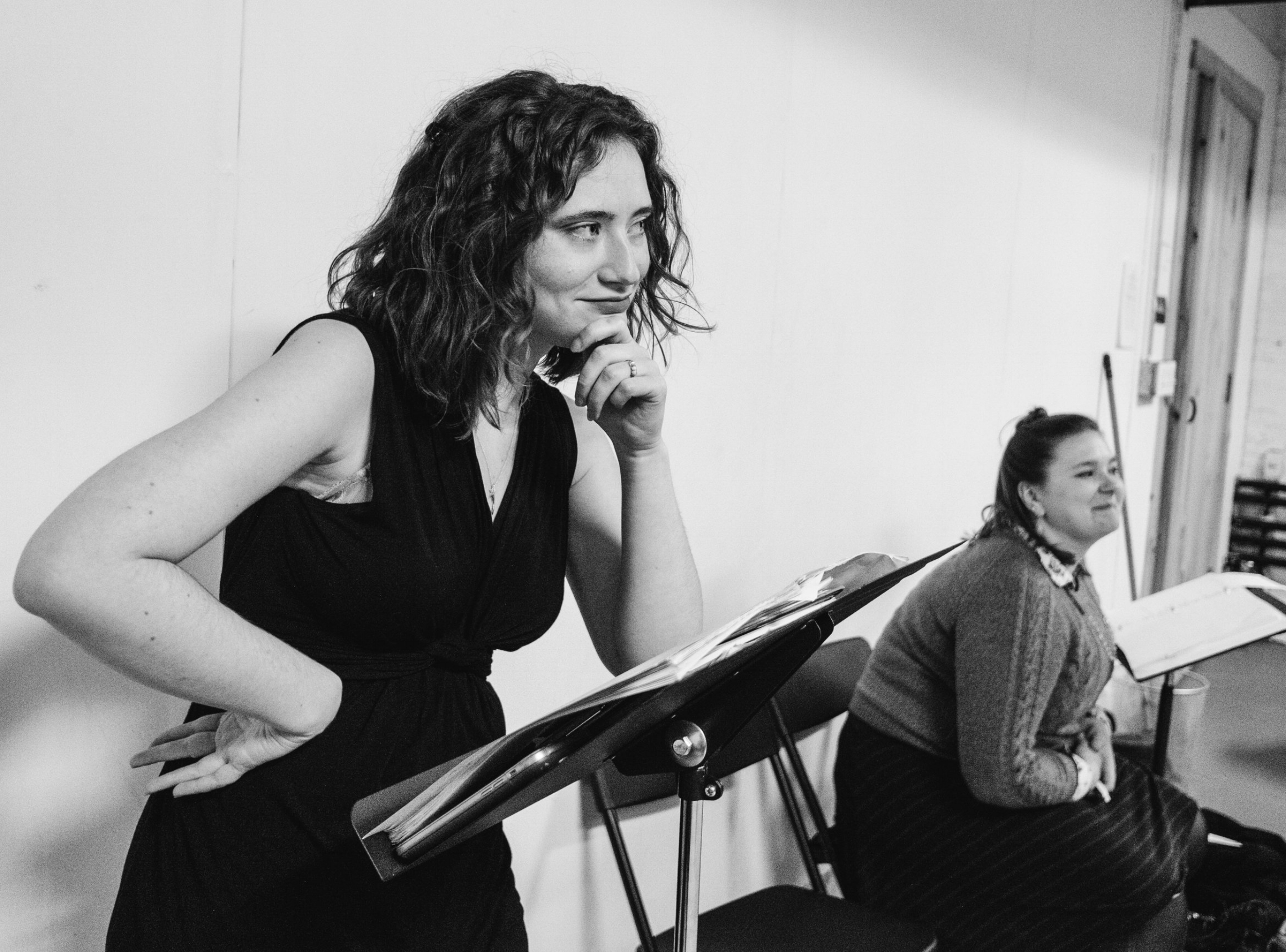 "emily lyon having some ""awesome brainstorms"" during rehearsal for all's well that ends well! (photo by will hare)"