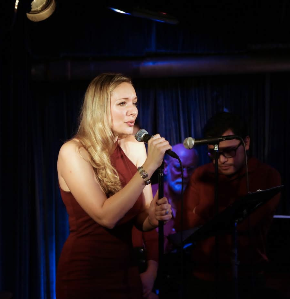 Sara singing her heart out in the hedgepig cabaret (photo by basil rodericks)