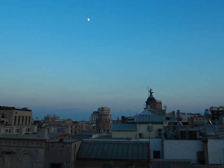 barcelona as seen from the balcony of our airbnb apartment