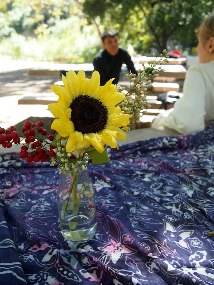 Malaysian batik pareo as tablecloth at picnic reception