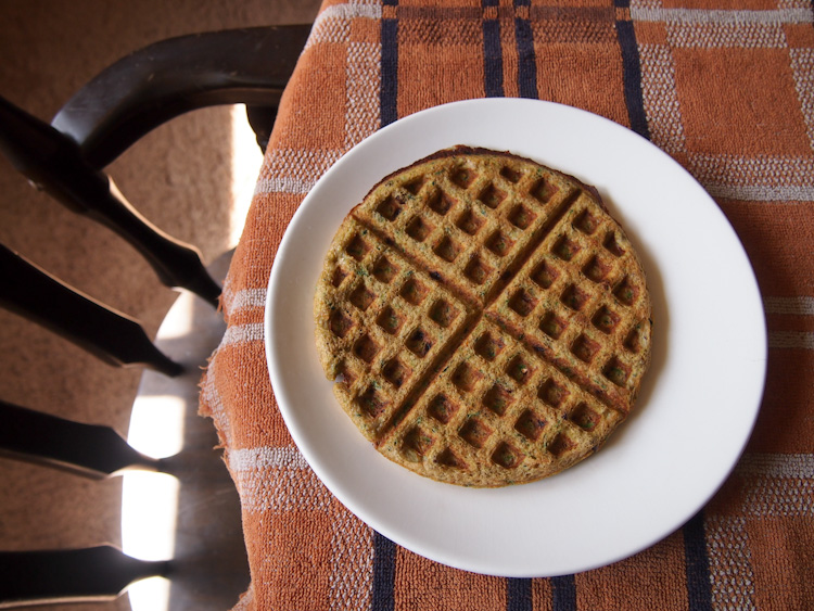 Spiced Zucchini Banana Waffles (Gluten-Free)   vermilionroots.com. Soft and custardy flourless omelet waffles made mostly with bananas, eggs and vegetables.