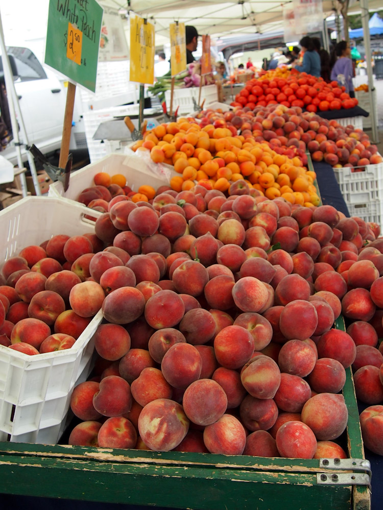 amazing fruit display at a farmers market in the san francisco bay area