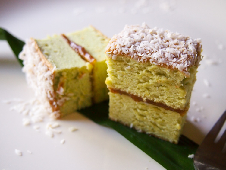 Pandan Coconut Cake with Kaya | vermilionroots.com. The green color of this cotton soft cake comes from pandan leaf, which is comparable to vanilla in Southeast Asia. Kaya is a spread made with coconut milk and eggs.