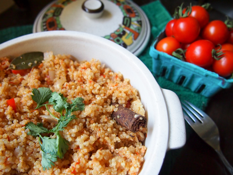Tomato Quinoa in the Style of Malaysian Nasi Tomato | vermilionroots.com. Inspired by the popular Malaysian rice dish, nasi tomato, this recipe uses quinoa instead, fragrant spices and fresh tomatoes from our garden.