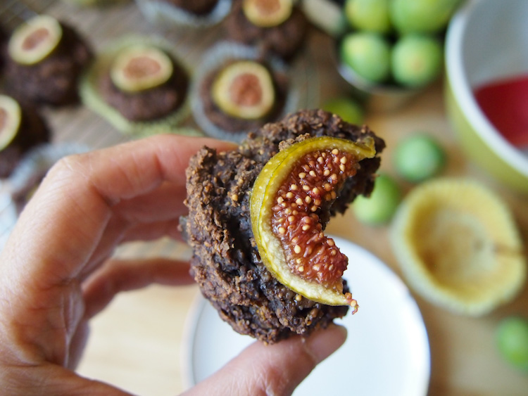 Fig and Carob Muffins (Vegan, Gluten-Free) | vermilionroots.com. Fresh figs and carob powder share the limelight in these nutritious muffins made with oats. They are tasty and so irresistibly gorgeous!