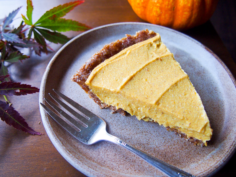 Almost Raw Pumpkin Pie | vermilionroots.com. This vegan, gluten-free pie has a surprise ingredient: tofu! The only cooking needed is for making the pumpkin puree. Everything else is done in a food processor and set in the refrigerator.
