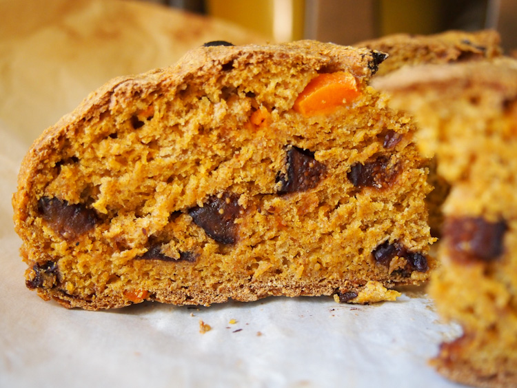 Carrot Soda Bread | vermilionroots.com. Sugar-free, oil-free, butter-free, egg-free, and made with only six ingredients. A great way to use leftover carrot pulp from juicing.