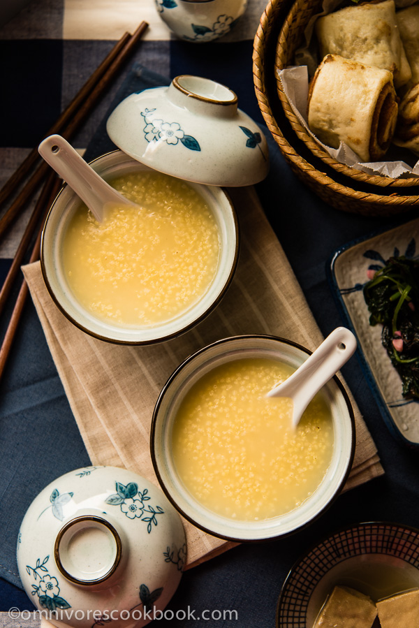 In China, millet porridge is enjoyed for breakfast with a pinch of sugar or a small cold dish