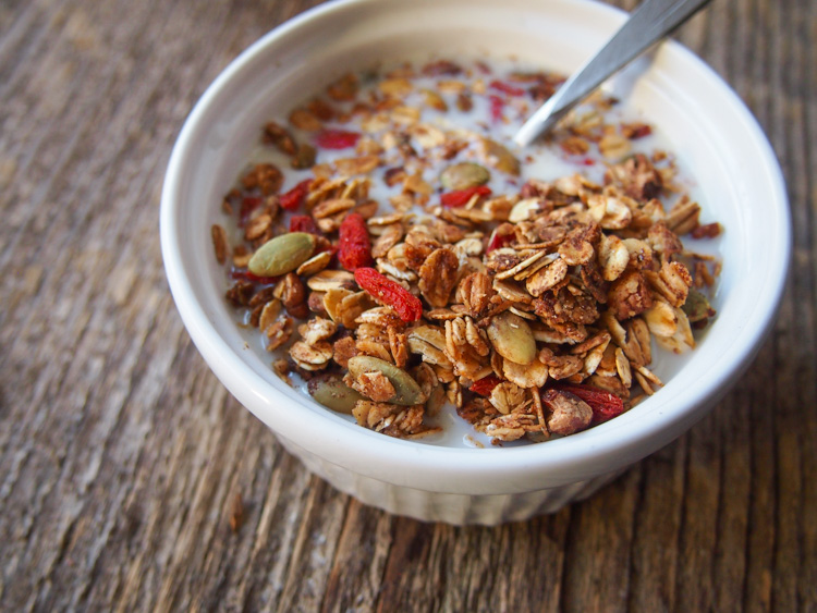 Homemade Soy Milk and Goji Berry Granola   vermilionroots.com. A fast and convenient breakfast that can be made ahead and stored for at least a week.