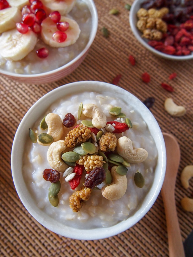 Brown Rice Porridge with Toppings | vermilionroots.com