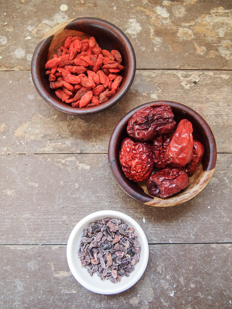 Jujube Tea with Cacao Nibs and Goji Berries   vermilionroots.com. A delicious tea with earthy sweetness from dried jujubes and dried goji berries, and a hint of smokiness from cacao nibs.