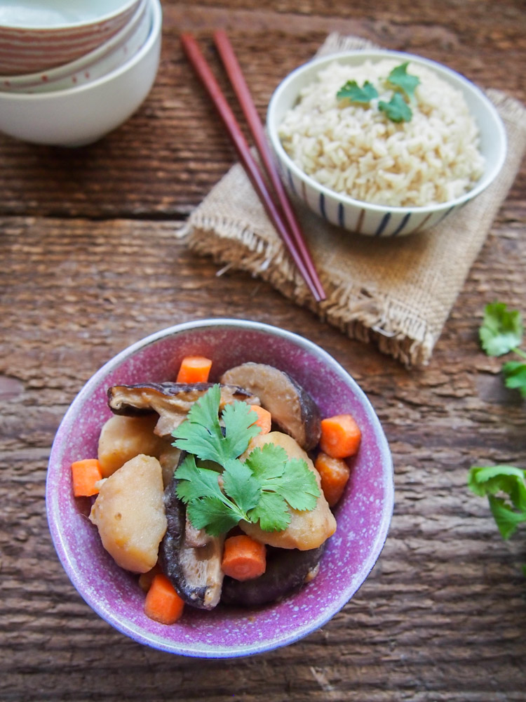 Shiitake Mushroom and Potato Miso Stew | vermilionroots.com. A vegetarian version of the Malaysian Nyonya dish called  pongteh that uses miso paste and dried shiitake mushrooms to achieve the umami flavor.