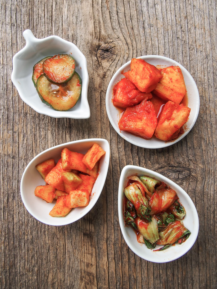 Quick Kimchis   vermilionroots.com. A good and fun introduction to homemade kimchi for beginners. This recipe can be used to kimchi daikon radish, cucumber, baby bok choy and even pineapple!