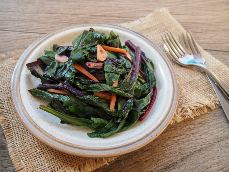 Beet Green Ginger Stir-Fry | vermilionroots.com. A quick and simple way to enjoy beet greens, using lots of ginger and garlic to enhance their slightly bitter taste.