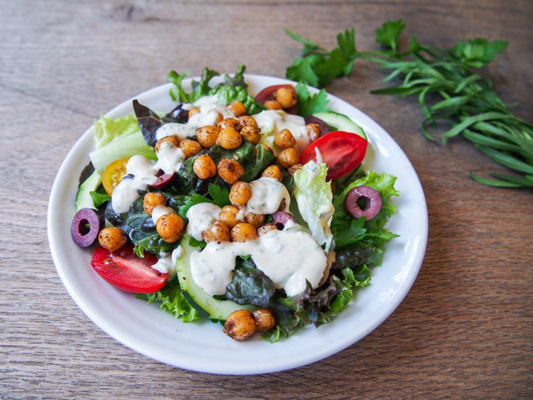 Chopped Salad with Spiced Chickpeas | vermilionroots.com. A power salad that is a meal by itself, packed with wholesome green goodness as well as protein and fiber-rich chickpeas and tahini dressing.