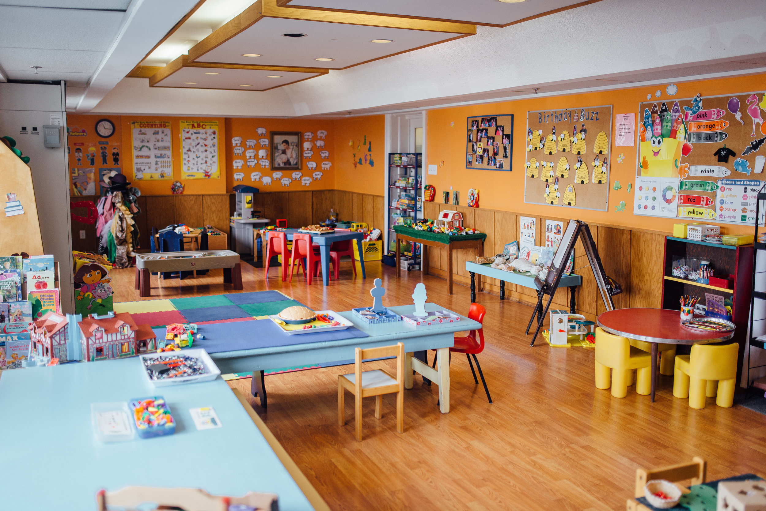Our government-licensed pre-school is FULL of engaging, learning-based toys, pictures and activities to prepare 3 and 4 years old for Kindergarten. Each year, our pre-school facilities and program WOW the inspectors!