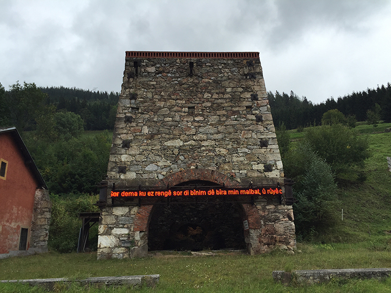 Mikala Dwyer, Saint Jude's Leftovers (Your Thoughts in Lights), 2015, Stierischer Herbst Festival, Vordernberg, Austria