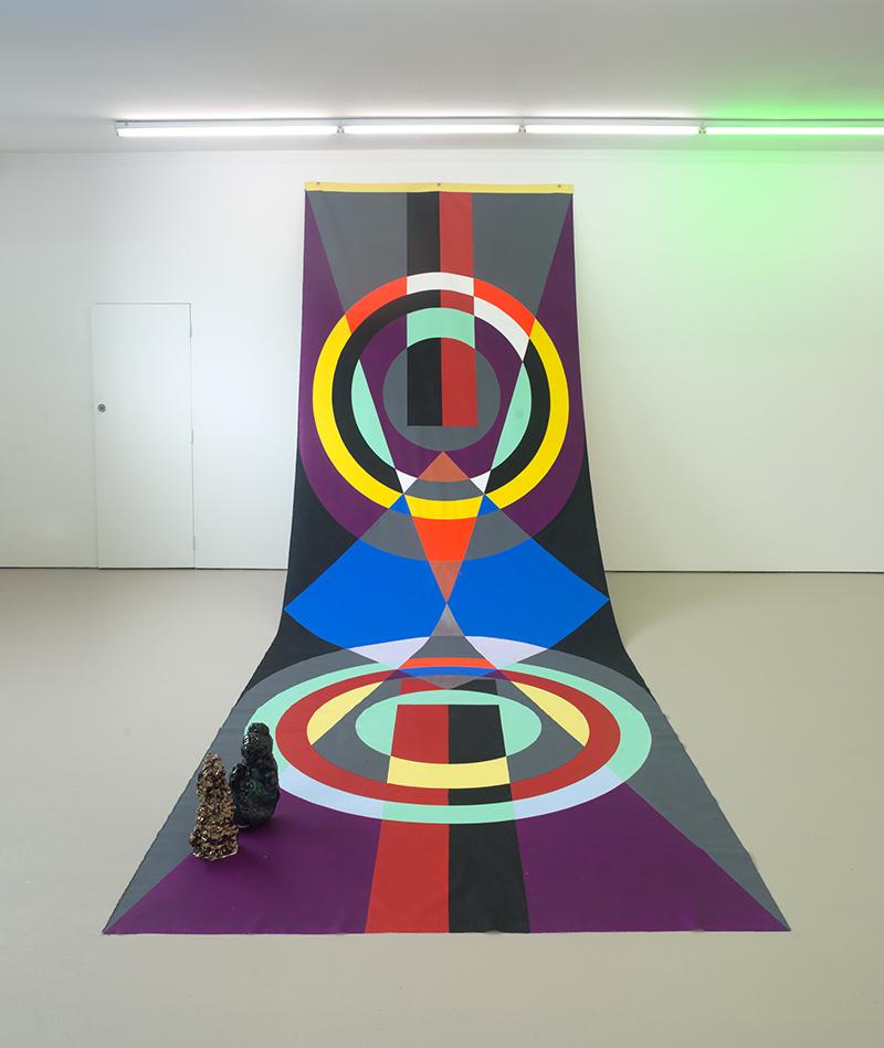 Mikala Dwyer, Backdrop for Base Matter, 2016, acrylic on canvas, ceramic three parts, backdrop: 600 x 220cm, ceramics: 33 x 15 x 18cm and 35 x 20 x 18cm