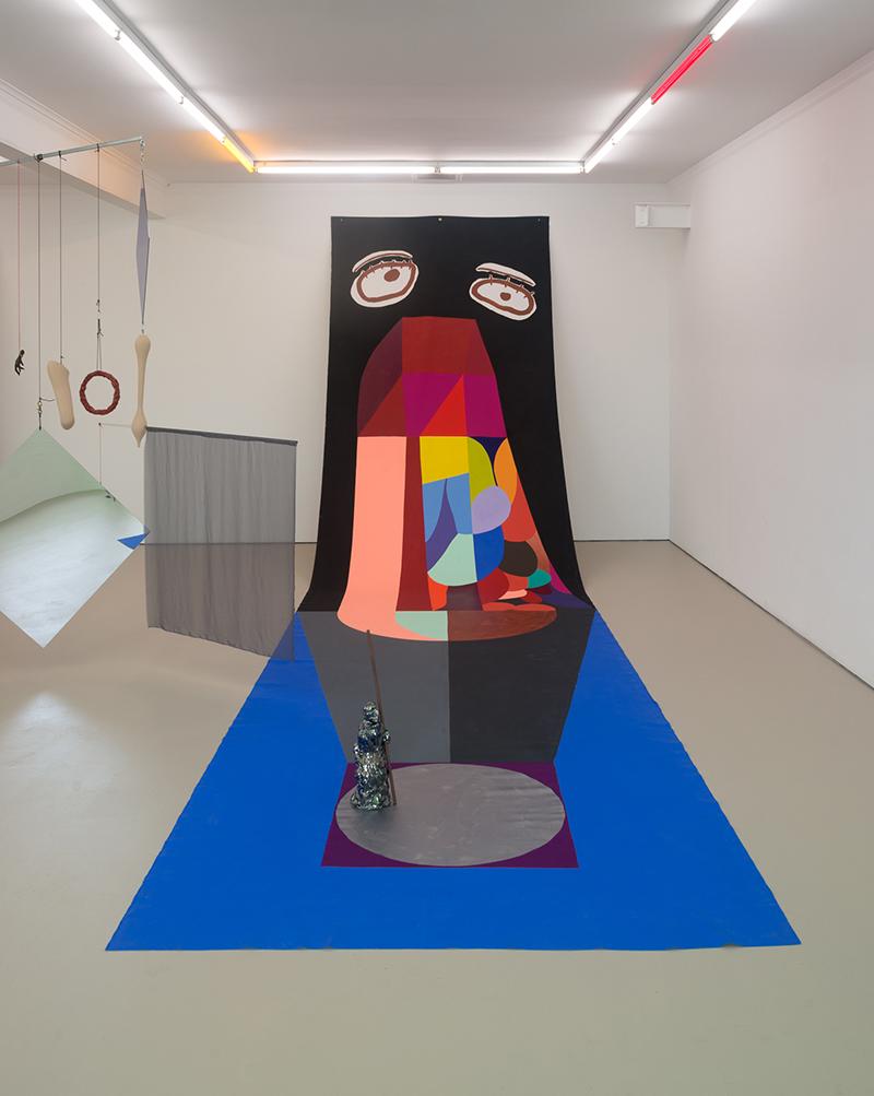 Mikala Dwyer, Backdrop for Saint Jude, 2016, acrylic on canvas, ceramic, copper rod, two parts, backdrop: 800 x 220cm, ceramic: 60 x 15 x 15cm