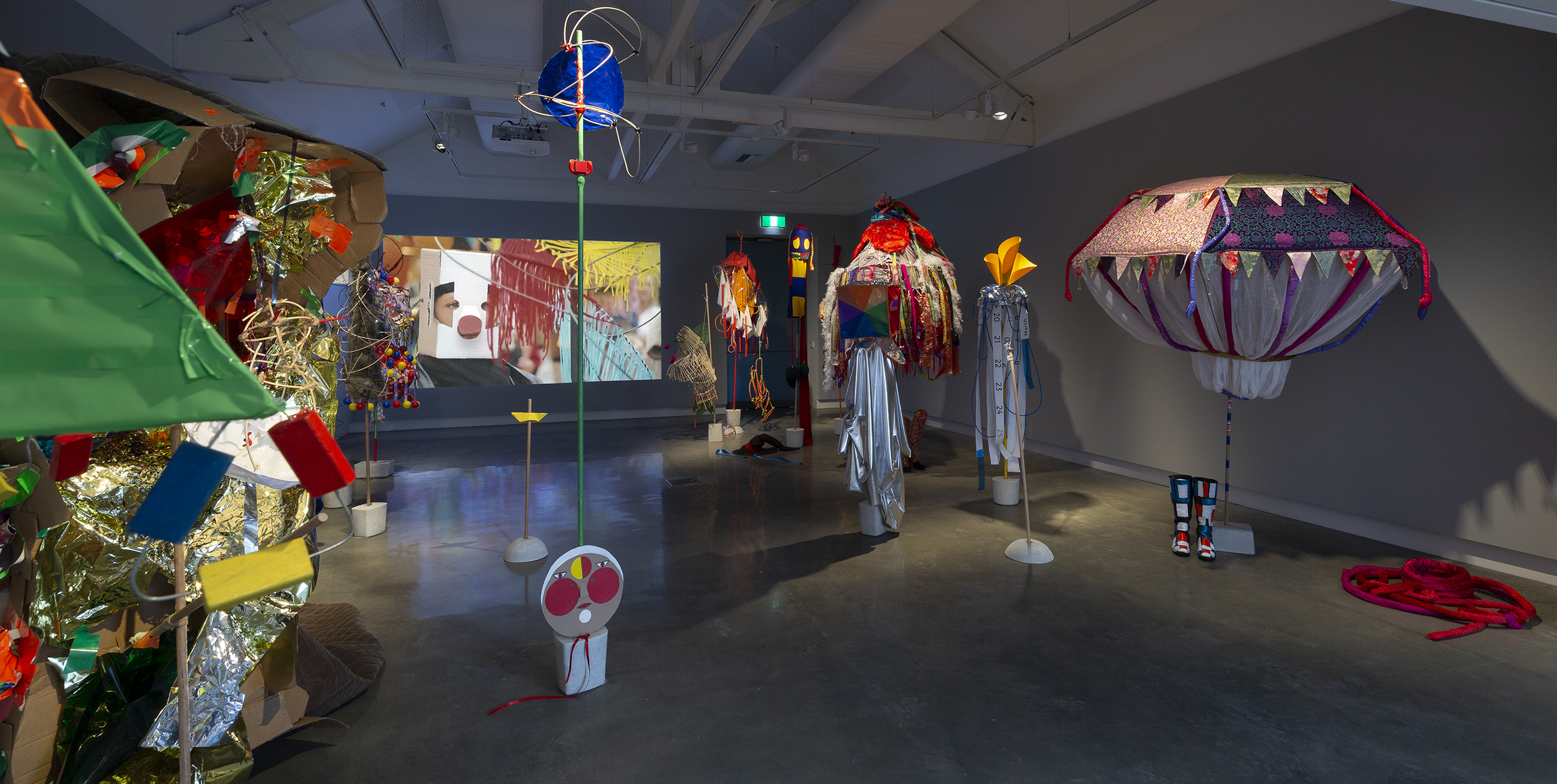 Mikala Dwyer and Justene Williams, Mondspiel (Moon Play), 2019, works by students from VCA, QCA and RMIT, Bauhaus Now!, curated by Ann Stephen, Buxton Contemporary, Melbourne