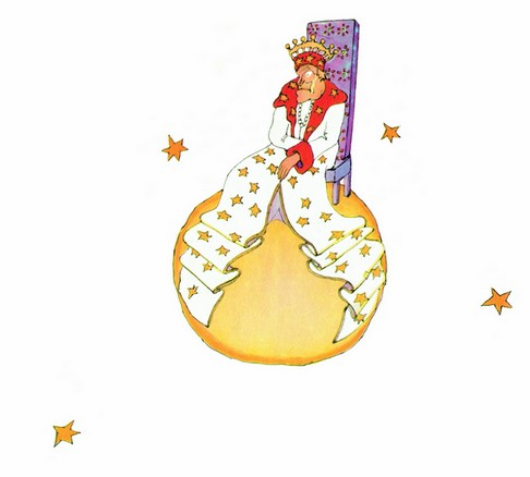 An illustration of King  in  Saint-Exupéry's novella