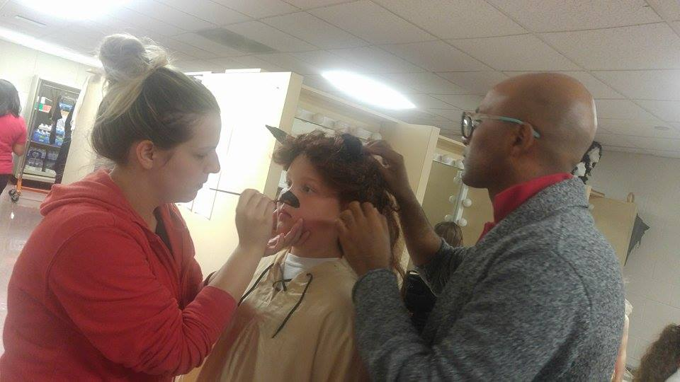 Hair and makeup were also key elements of the costume design - check out Miss Jess and Mr. Ahmad creating The Beast!