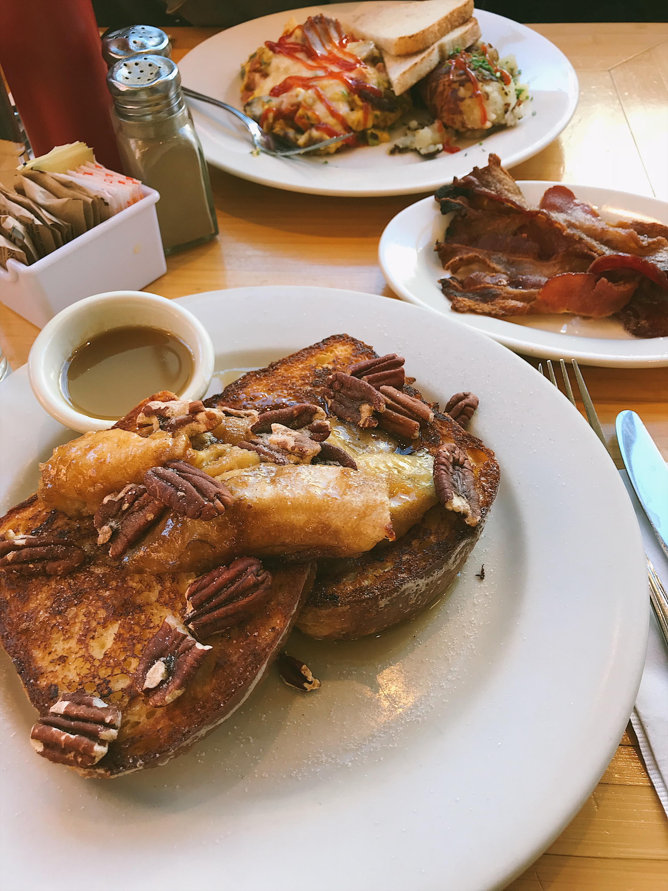 Ok, guys. You need to order this Brioche french toast with bananas foster and brown butter syrup. A MUST.