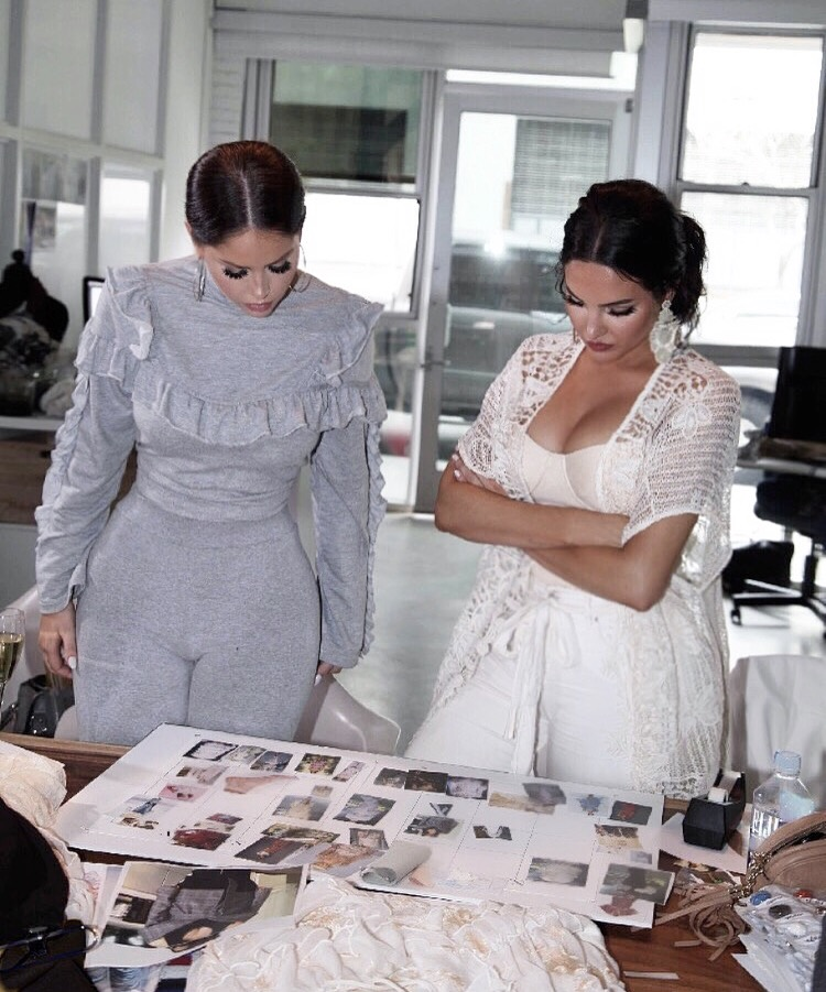 Olivia and Natalie working on the designs of NAT & LIV collection one.