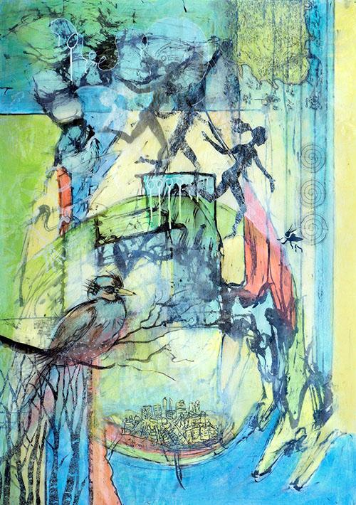 acrylic collage on terraskin