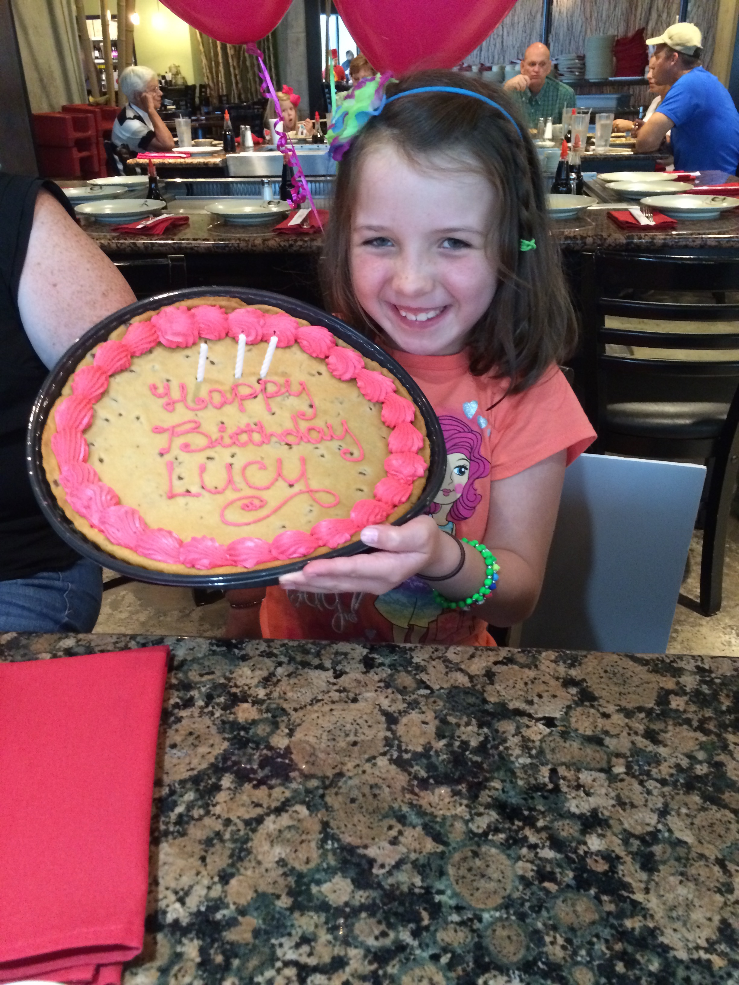 Lucy turned 8 on Tuesday and her grandparents did a GREAT job with her celebration. It's being reported that she is being very good and has not cried hardly at all about missing us. That's good...I think? :)