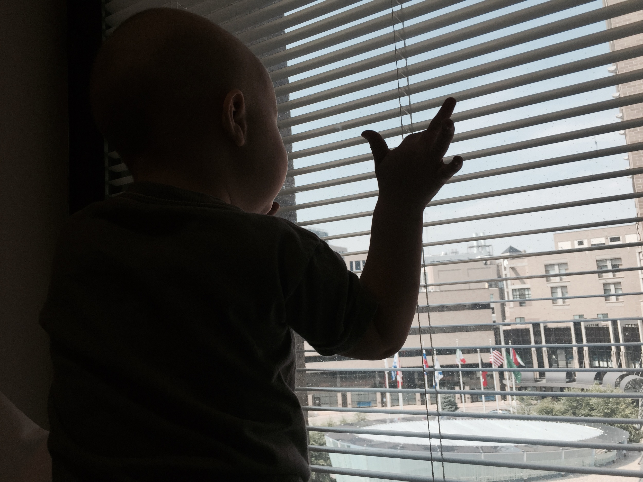 "Charlie climbed up to the window, put his hands up and said softly, ""Hi."" I think what he was thinking was, ""There is still a world out there: a sky, other people, cars and life."" It was sweet and sad at the same time."