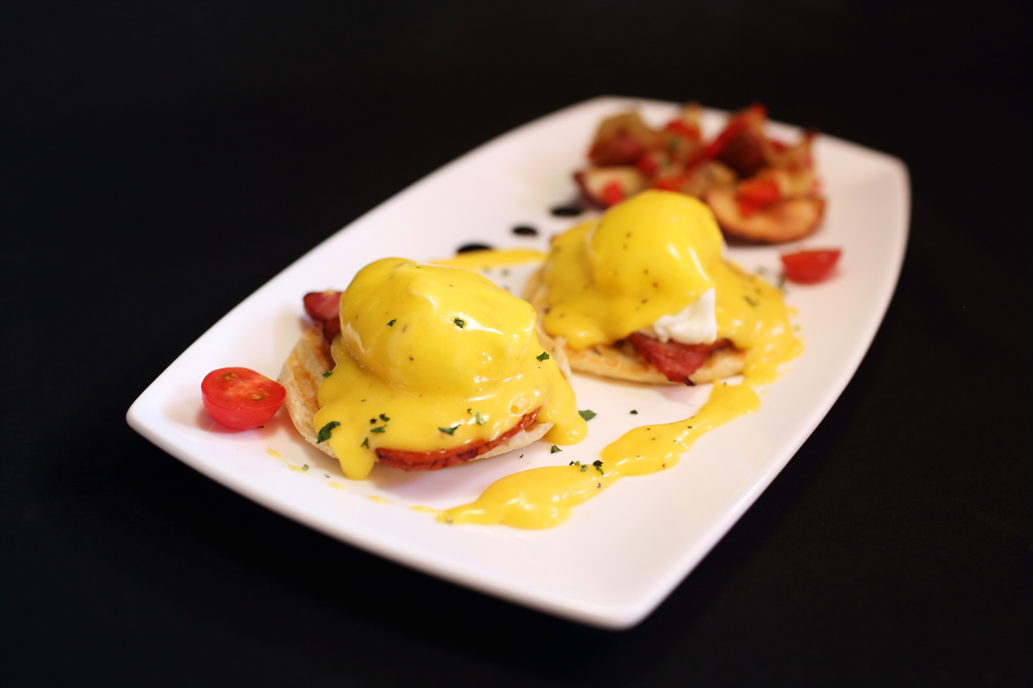 Eggs Benedict - Angry Moon Cafe and Wine Bar, Palm Beach Gardens, FL 33410