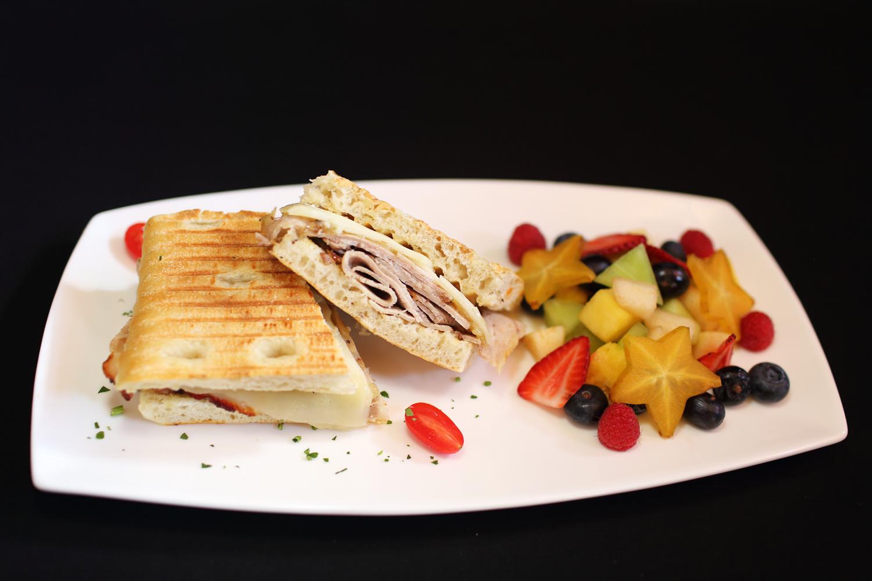 Sliced Pork Roast on Focaccia - Angry Moon Cafe and Wine Bar, Palm Beach Gardens, FL 33410