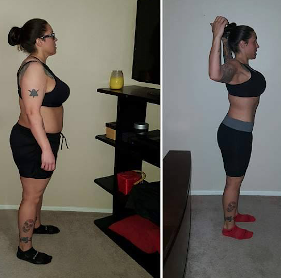 Allyson S - Approximately six months of weight loss, CrossFit and one on one counseling achieved this amazing before and after shot!