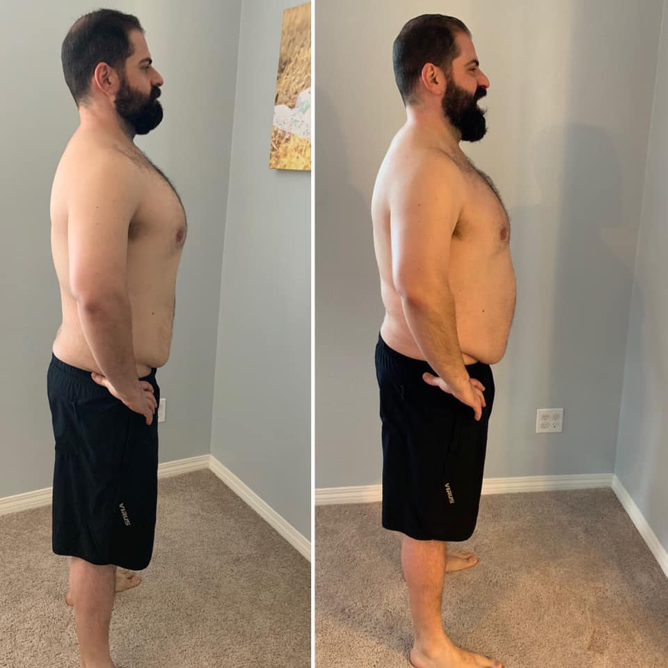 Enrique F - Three months of consistent eating coupled with working out five to six times per week resulted in a total weigh loss of 28 pounds!!!