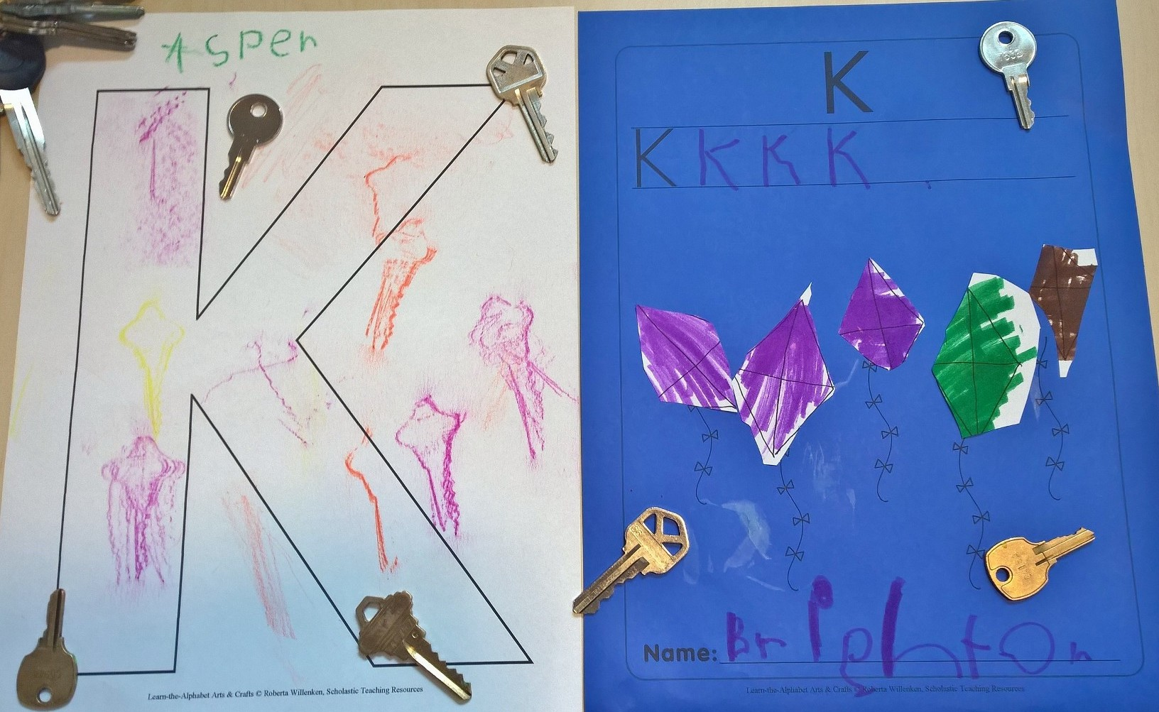 Kk is for key rubbings and kites!