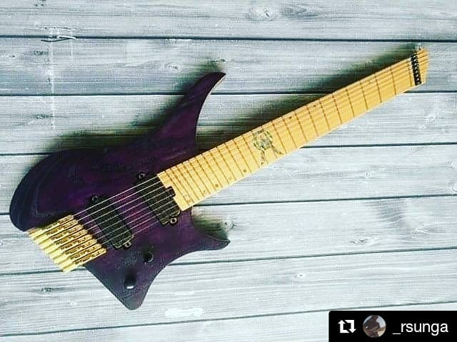 """#Repost @_rsunga It's finally finished! Can't wait to get my hands on this beast, thanks to @gocguitarsofficial for working so hard on this!  8 Strings Scale: 25.5""""/27"""" Body: Ash with natural maple binding Neck: 3 piece maple Brass Hardware Abalone Inlays Carbon Fiber Rods Jumbo Stainless Steel Frets"""