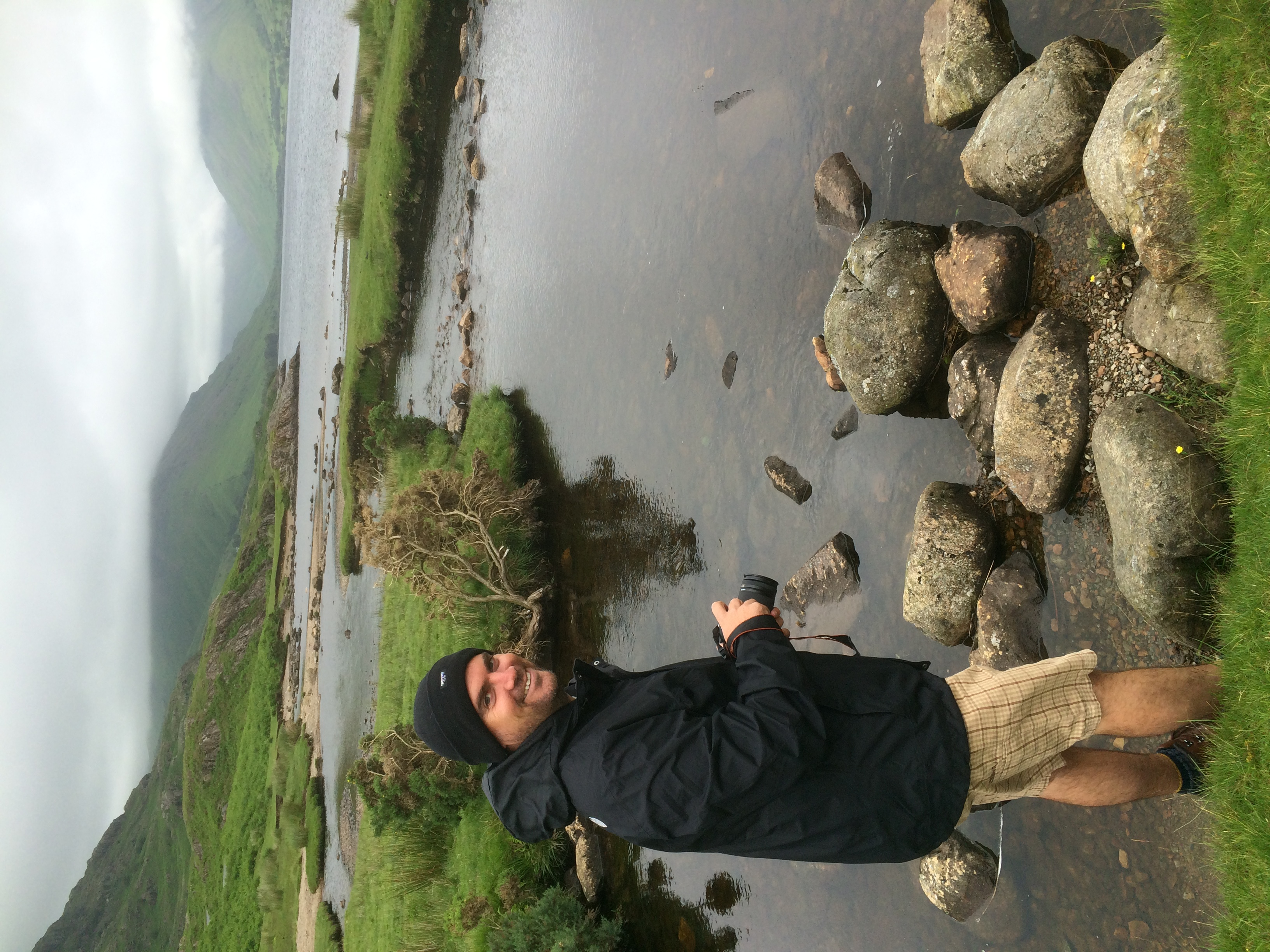 Adam considering taking a dip in Wast Water. Not really....