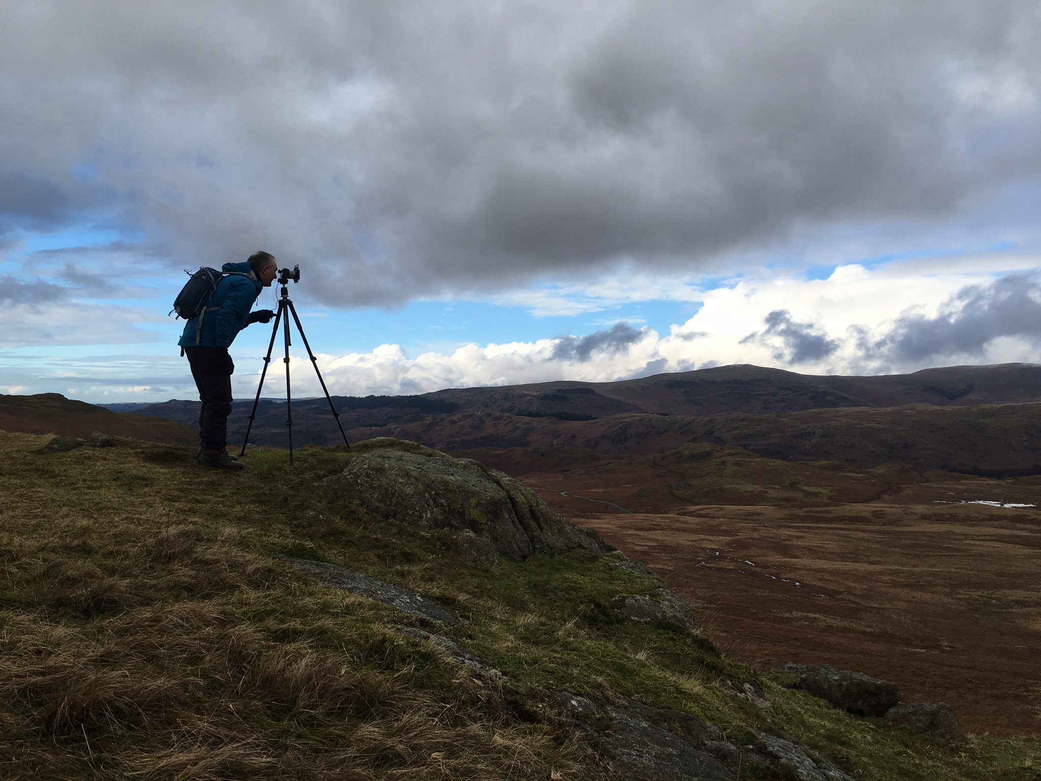 Andy on his workshop atop Birker Fell