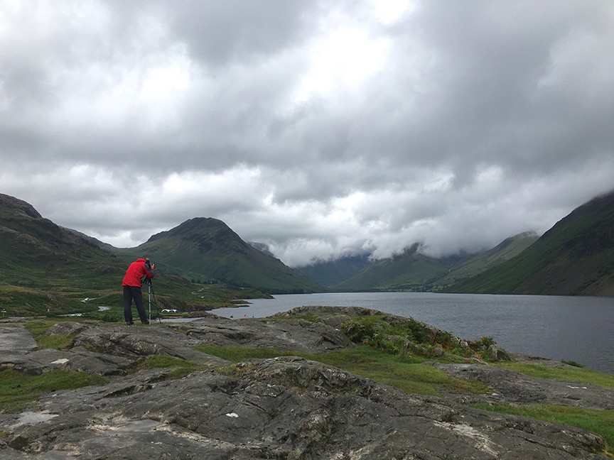 Adam overlooking Wast Water just after an horrendous deluge that lasted for hours