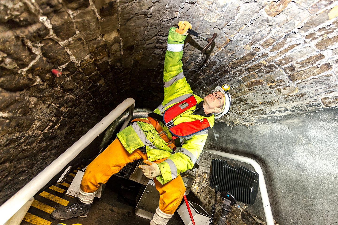 John carrying out an inspection of the roof lining in the Standedge Tunnel