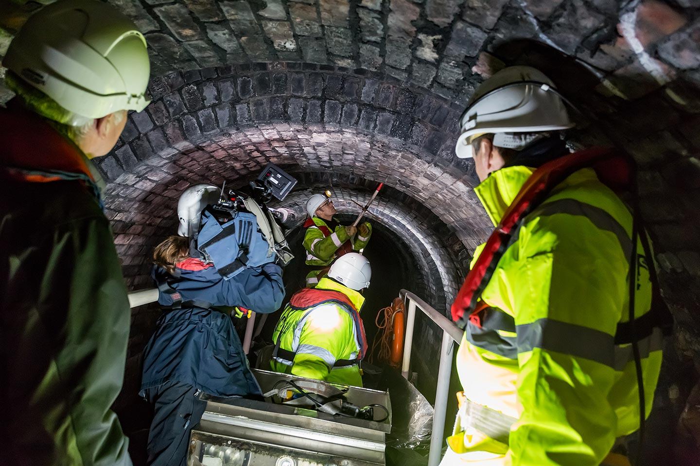 Filming in underground with BBC NORTH.