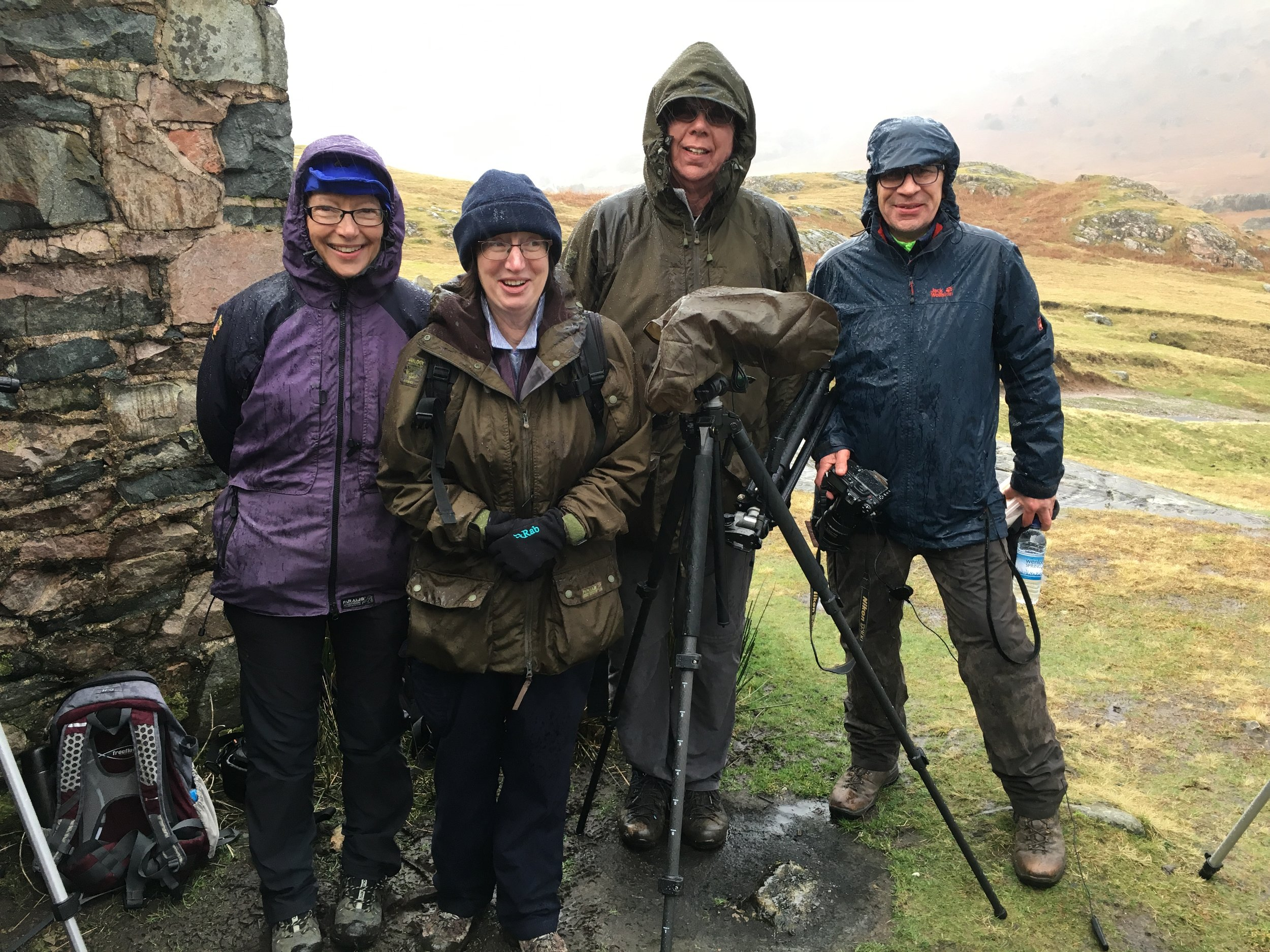 Helen, Judith, John and Mark. All 'togged up' in the rain on their workshop. Nicely summed up in their own words, 'learnt a lot and what a great day'.