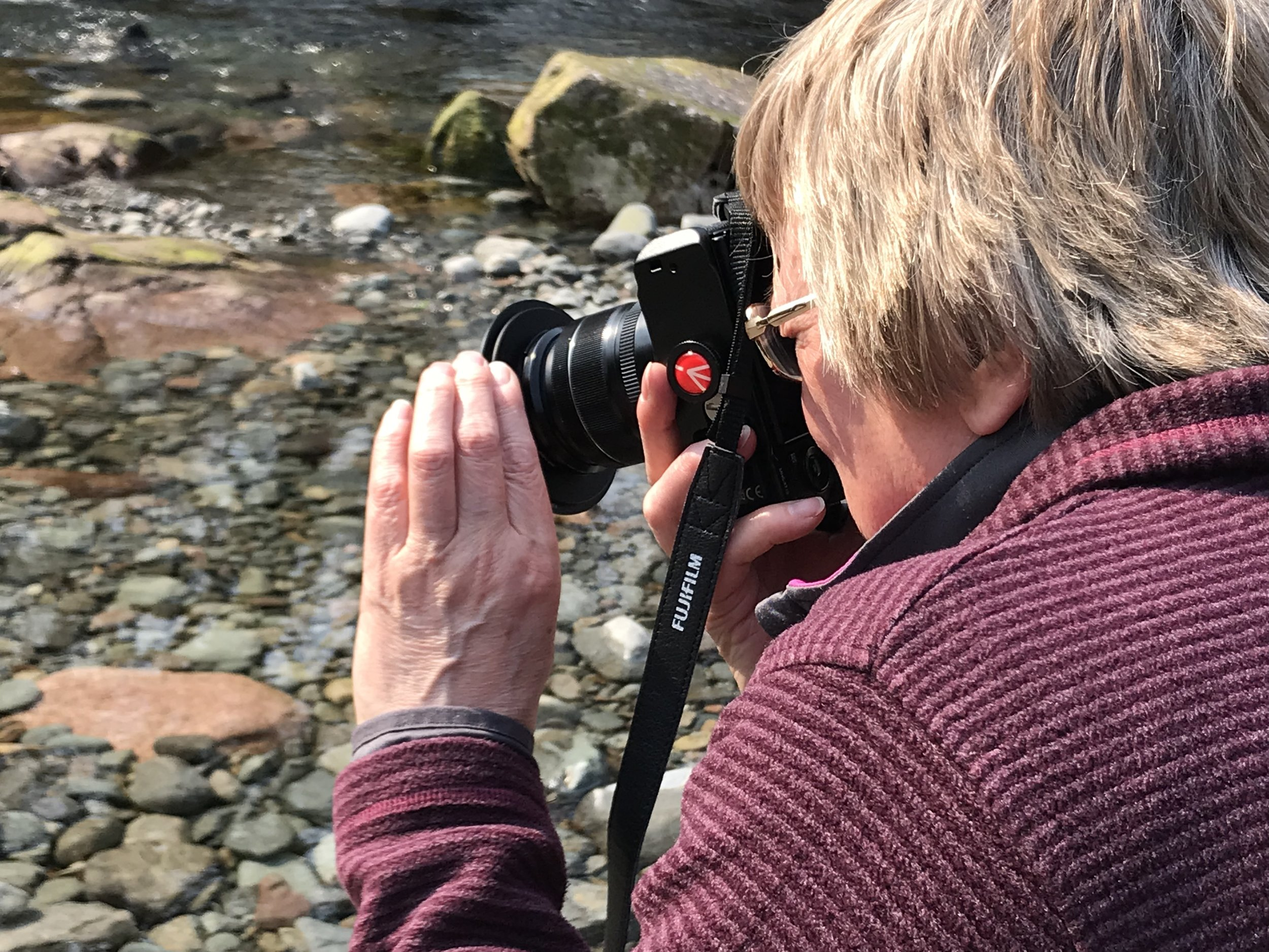 Anne getting to grips with her XT-2 in Eskdale