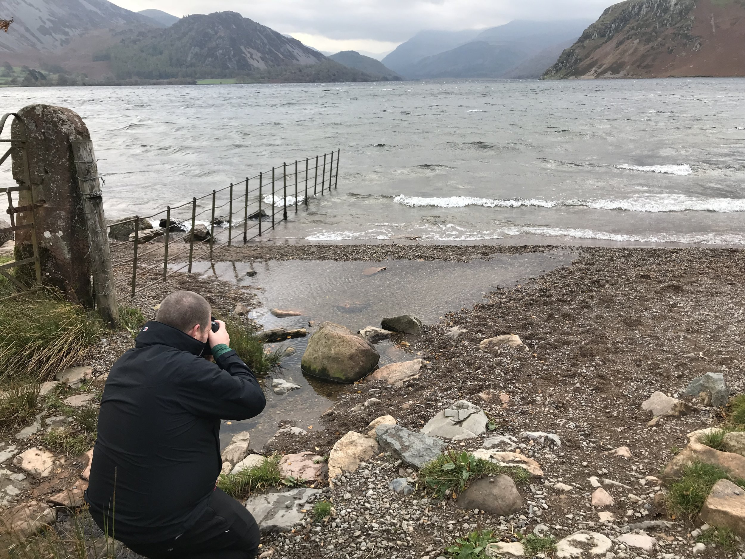 Andy at a very windswept Ennerdale. It was coming right at us and as strong as I can recall.