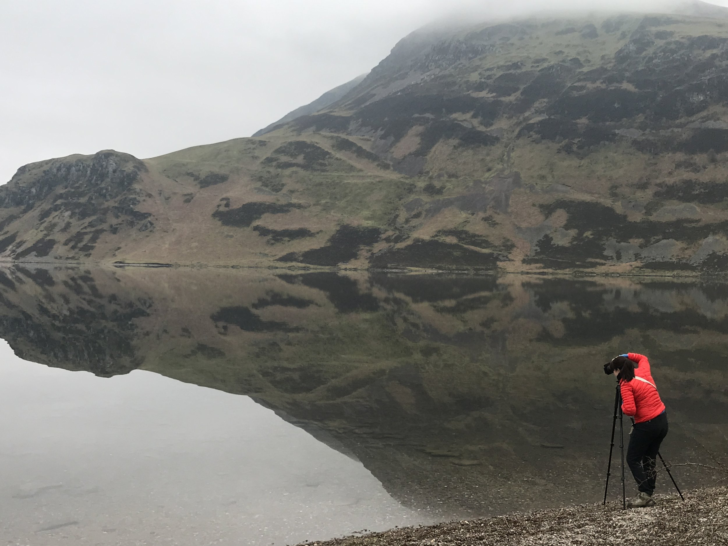 Vicki at Ennerdale on an atmospheric day. She is an invaluable help to me.