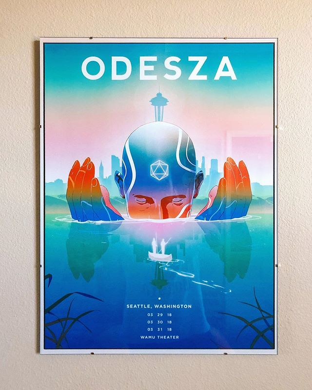 Been looking for one of the @odesza concert posters designed by @victormosquera for a while now (specifically this Seattle one or the Red Rocks one), and finally found it! Beyond stoked to have a beautiful piece of art by two of my favorite artists framed and hanging up on my wall! :)