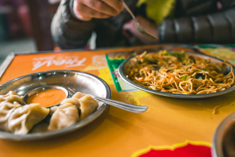 Momos and noodles